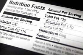 Close-up photo of a nutritional information label.