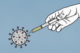 Illustration of a hand injecting a vaccine into a coronavirus.
