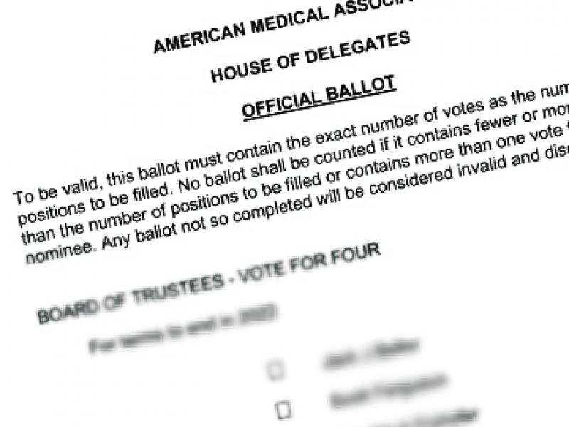 House of Delegates AMA elections ballot