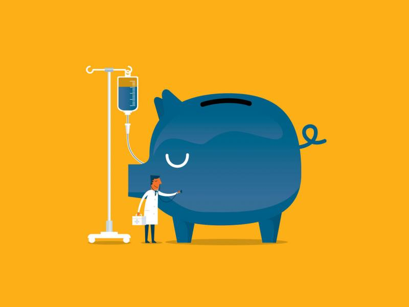 Piggy bank connected to an IV