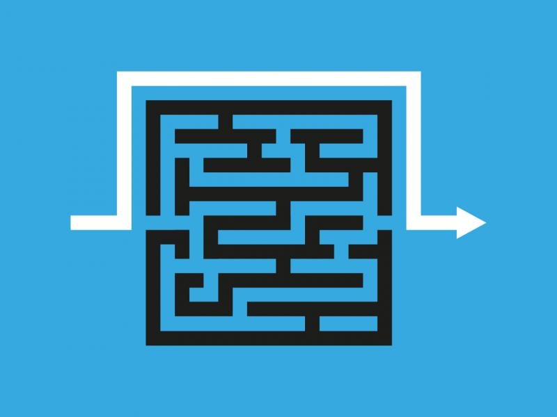 Showing path that bypasses maze