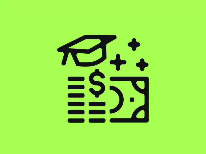 Illustration of money and graduation cap