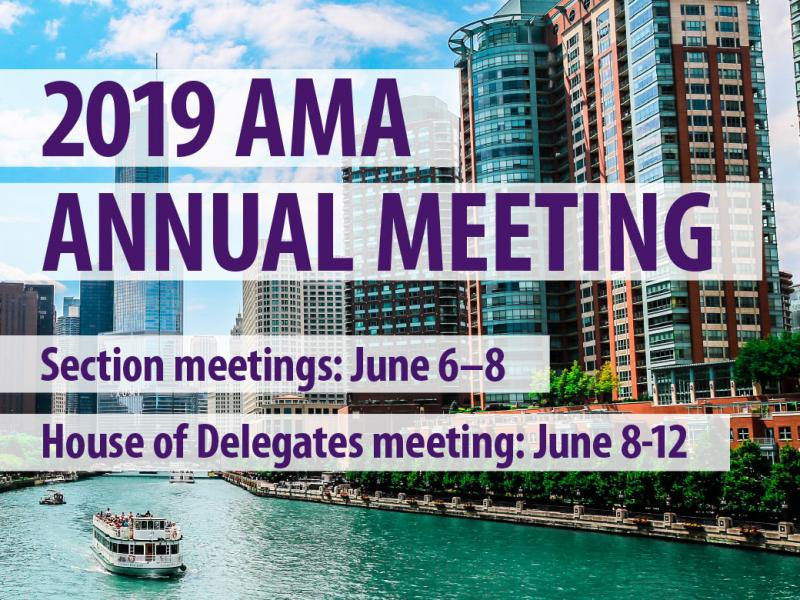 Image of buildings along Chicago River and dates for 2019 AMA Annual Meeting in Chicago.