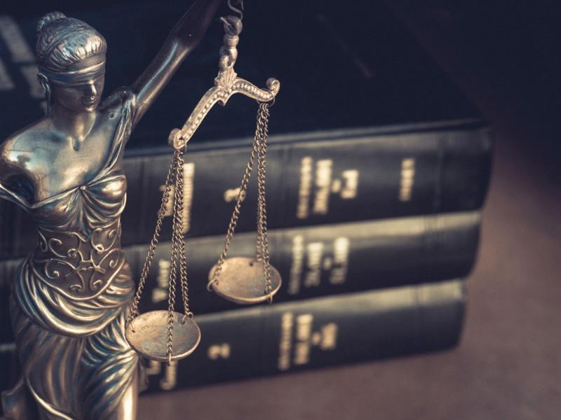 Scales of justice on a desk