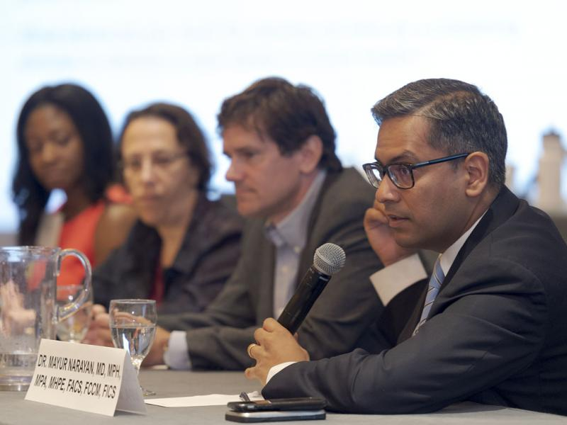 Mayur Narayan, MD, at public health panel.