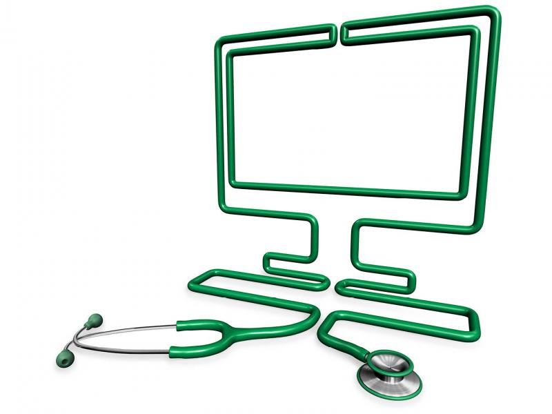 Outline of a computer formed by stethoscope