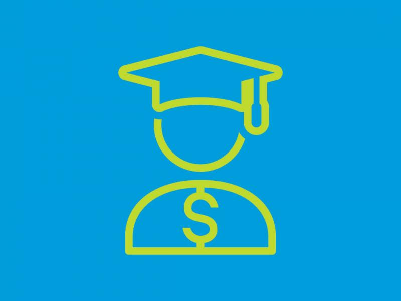 Illustrated outline of a graduate and dollar sign