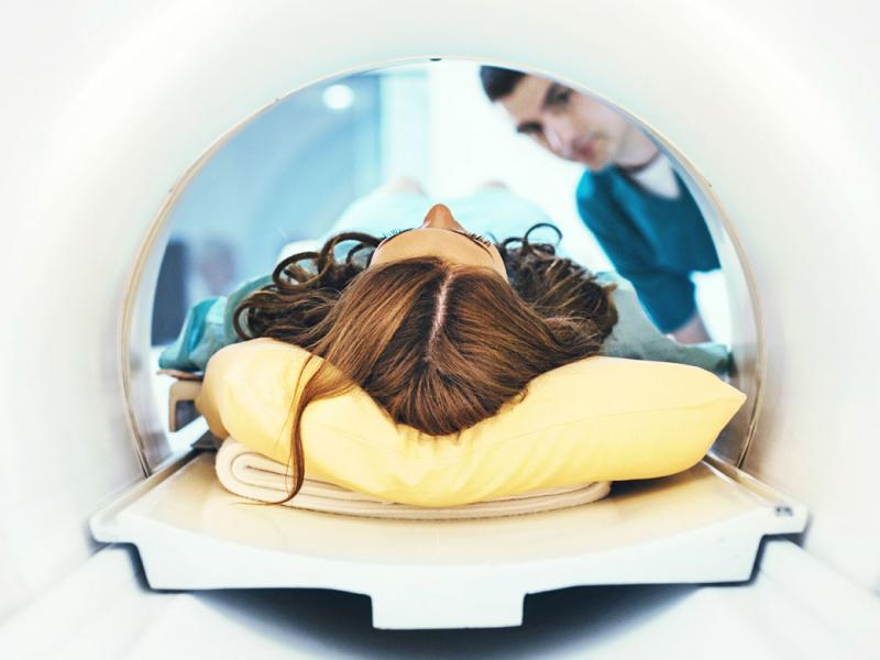 Patient having an MRI