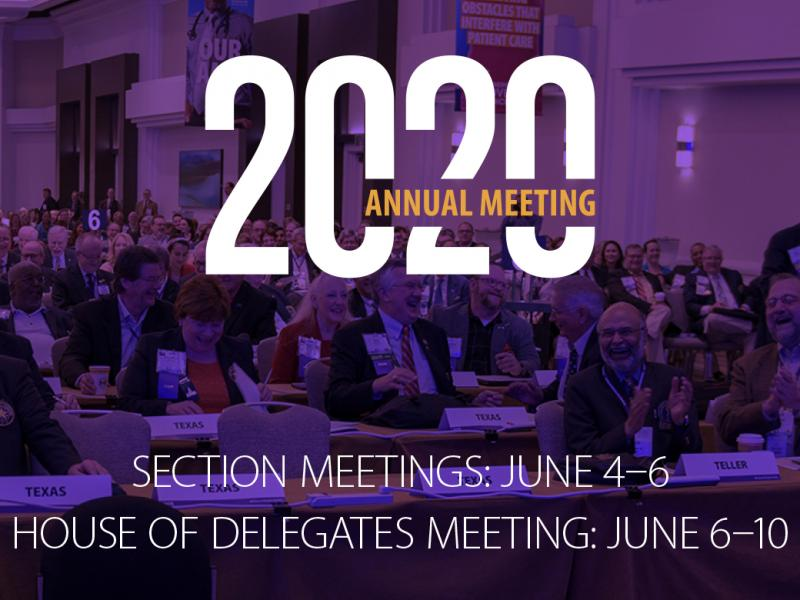 2020 Annual HOD and Sections Meeting dates