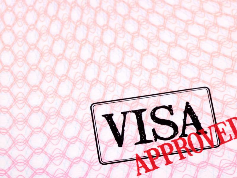 "Visa with the word ""Approved"" in red"