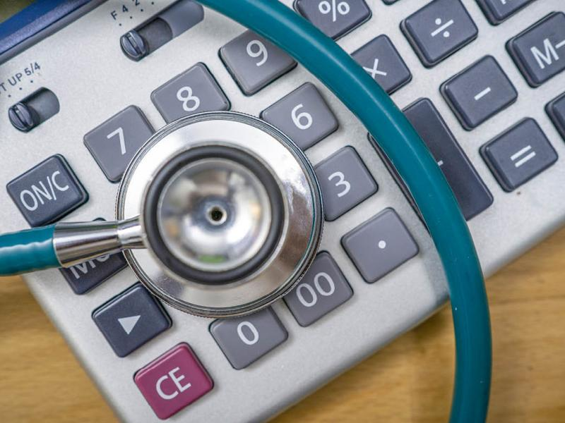 Stethoscope on a calculator