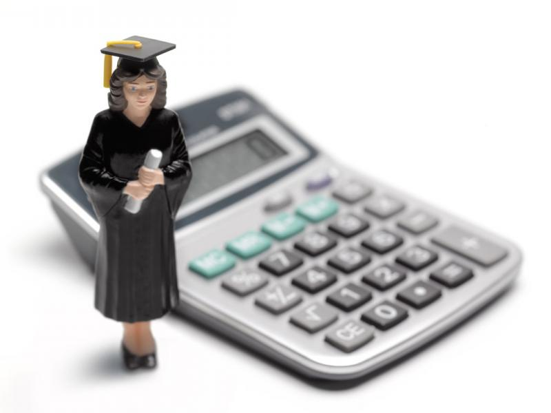 Graphic of a graduate in front of a calculator