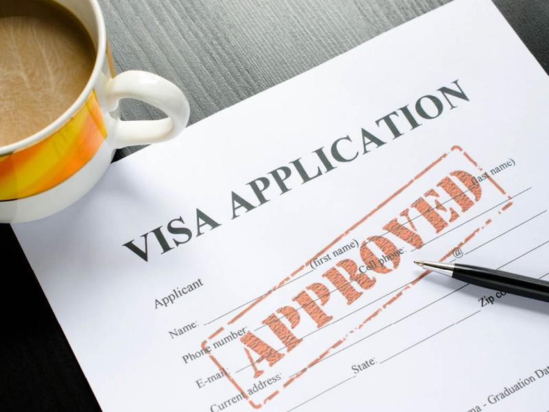 Visa application with an approved stamp