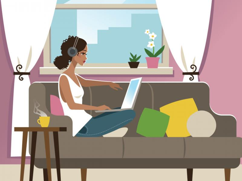 Illustration of person working on a laptop