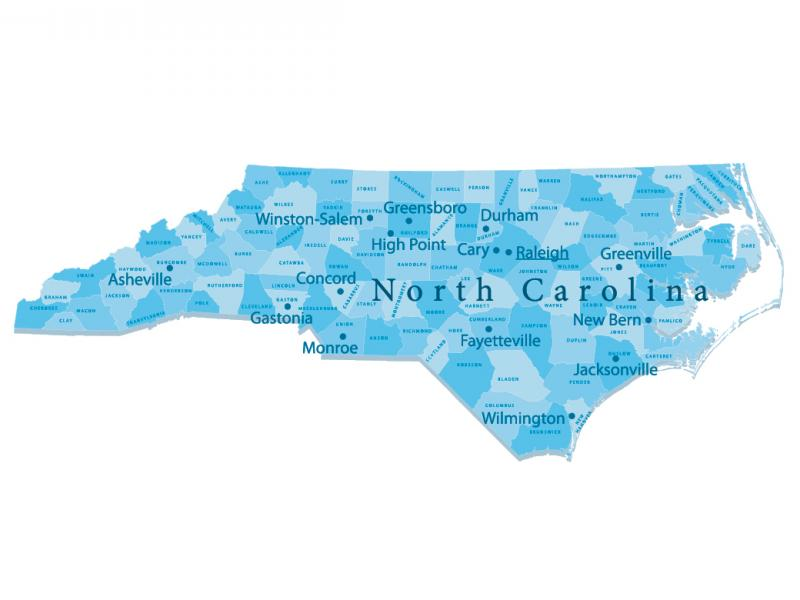 County map of North Carolina
