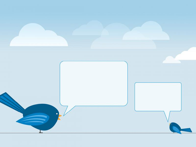 Illustration of two birds with empty message chats