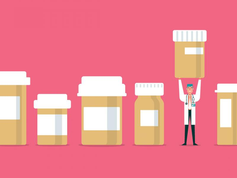 illustration of tiny pharmacist holding up prescription bottle among other prescription bottles