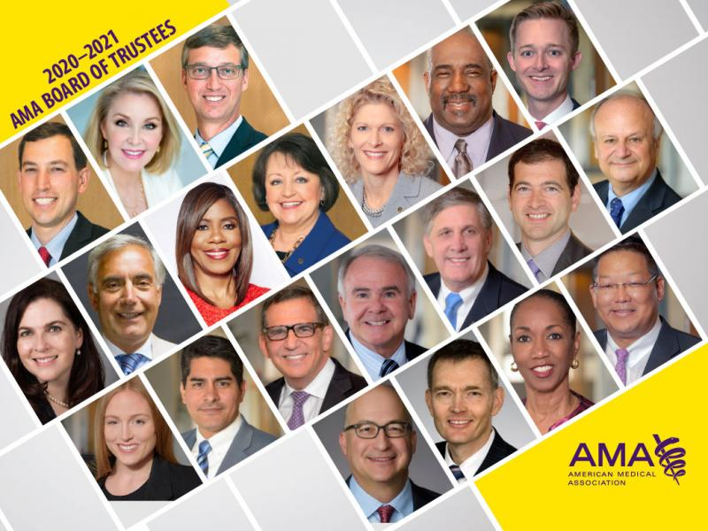 Collage of the 2020-2021 AMA Board of Trustees.