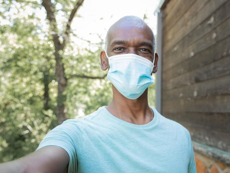 Person wearing a face mask.