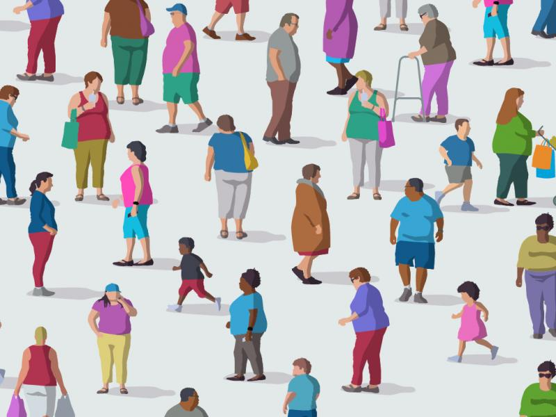 Illustration of a diverse group of people, whom all seem to be overweight, walking against a white background.