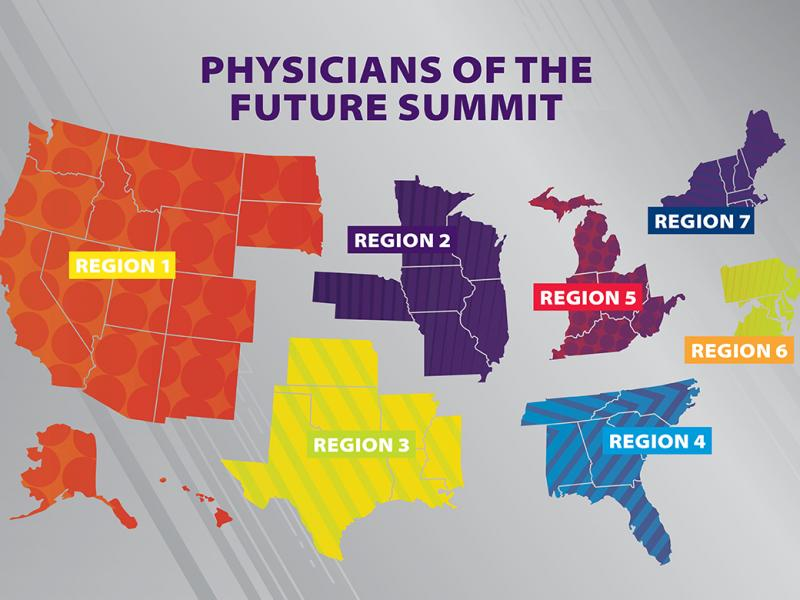 Physicians of the Future Summit map showing the seven summit regions
