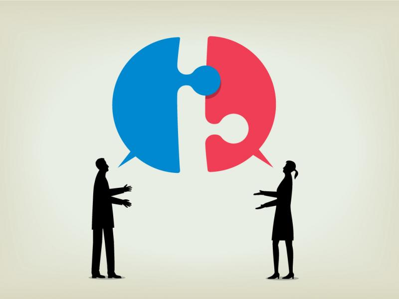 Two figures having a dialogue