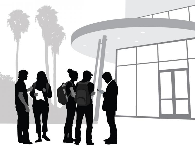 Sihouette vector illustration of a college building with students talking