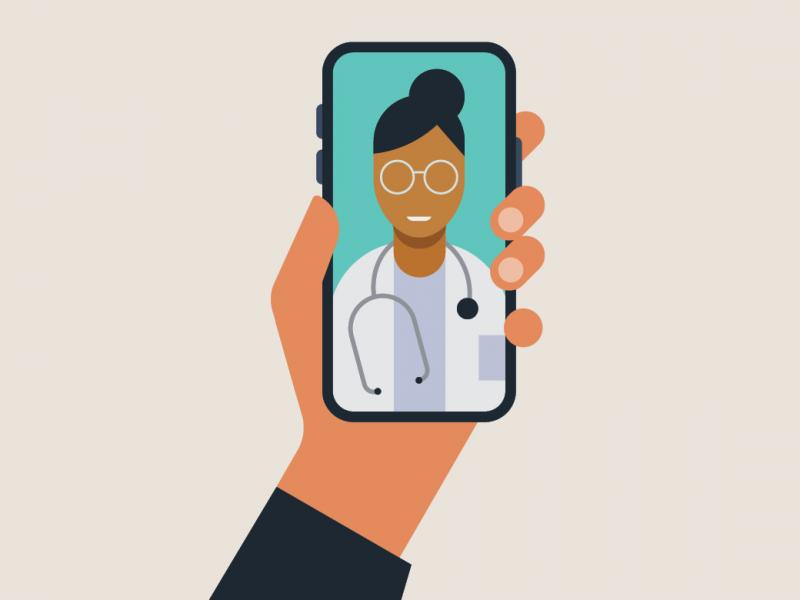 Illustration of video chat with physician