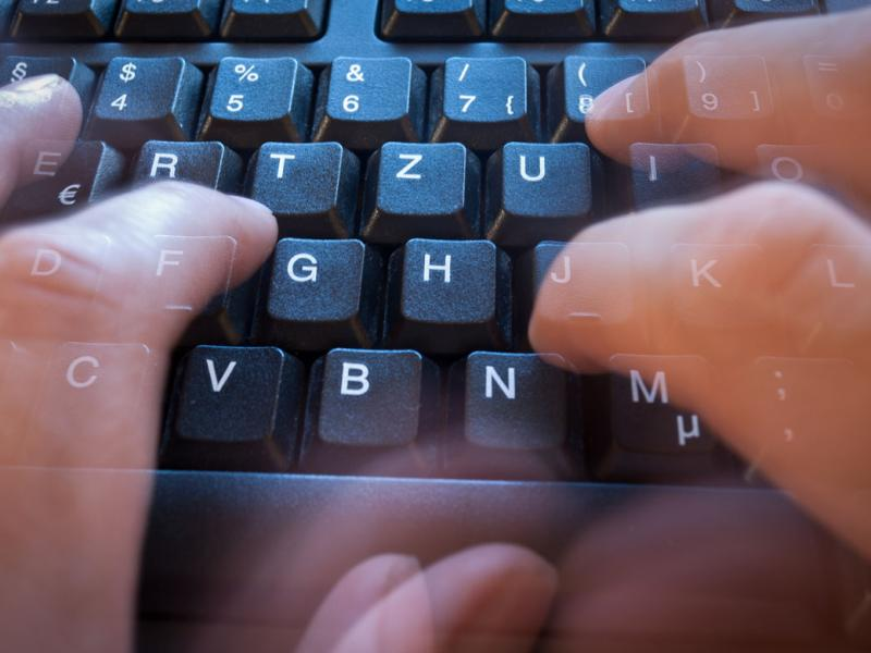 Fingers on a keyboard