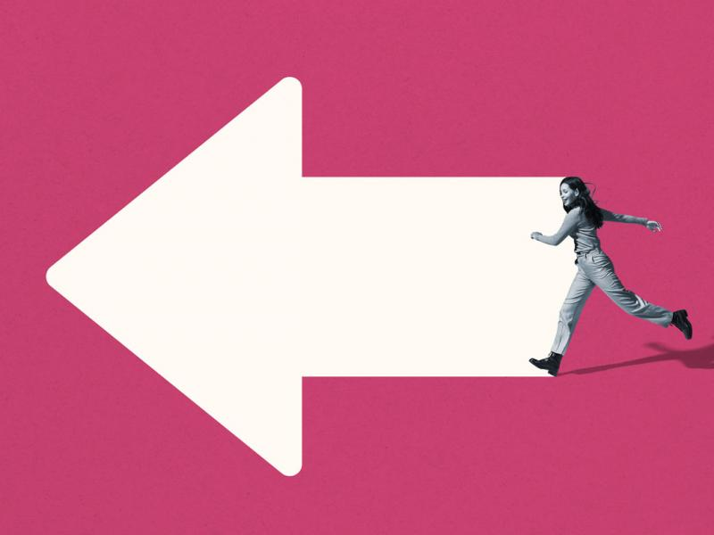 Photo-illustration of woman running into frame from the right against a giant white arrow pointing to the left set against a red background.