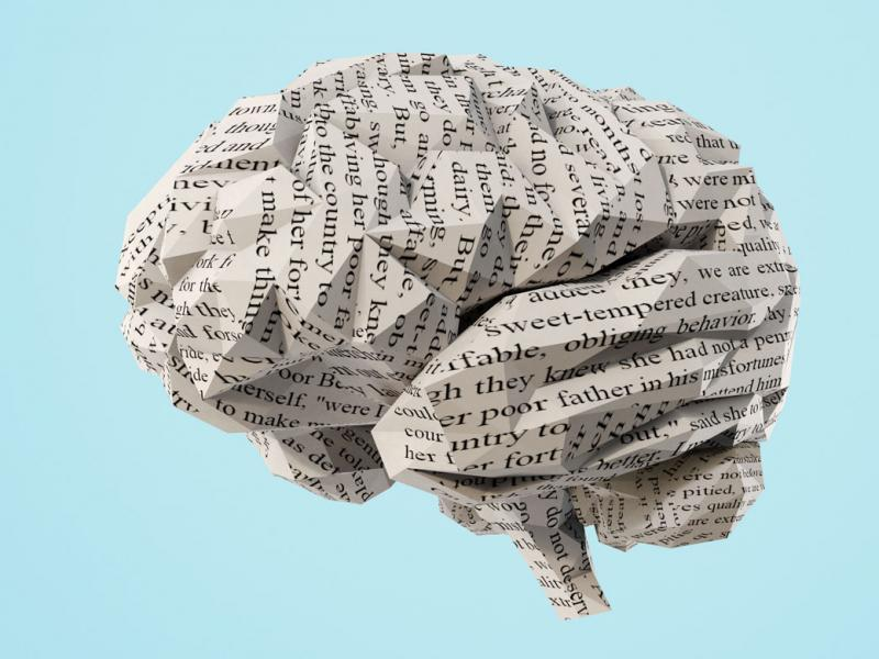 Photo illustration of a human brain made from crumpled up paper.