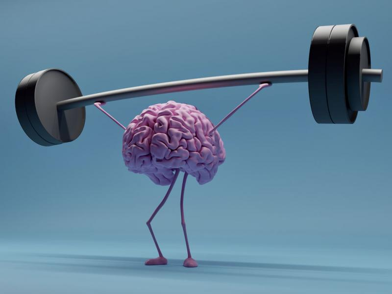 Brain holding a barbell