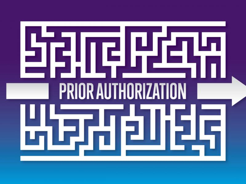 Prior authorization text on purple background