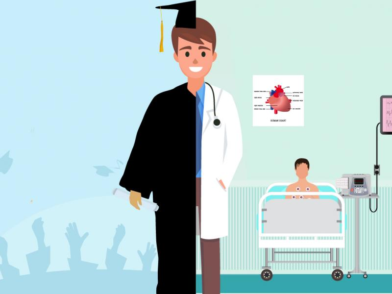 Illustration of graduate wearing half of a graduation gown and half of a doctor's coat.