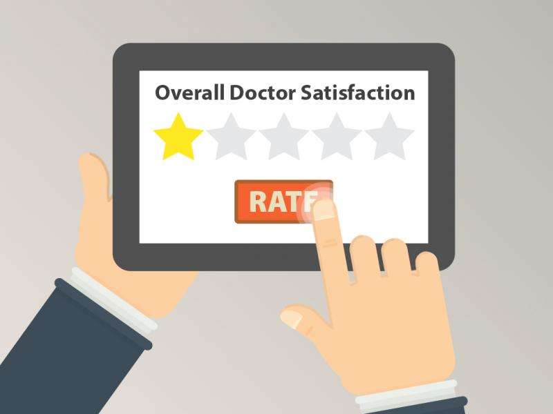 Graphic of an online rating being entered.