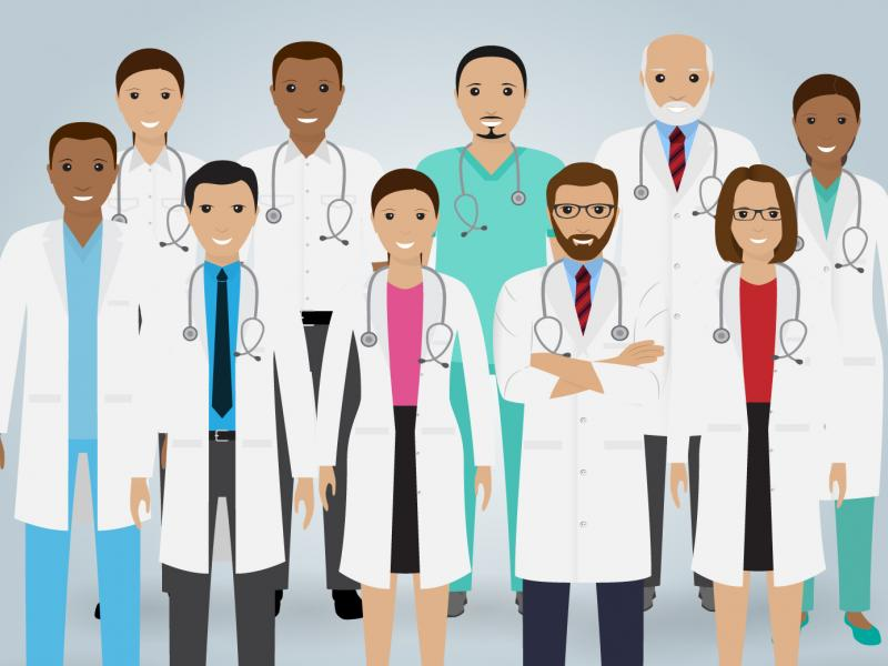 A cartoon drawing of a diverse group of health care professionals.