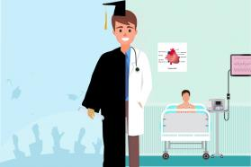 Split-screen illustration of person half in graduation gown and half in doctor's coat