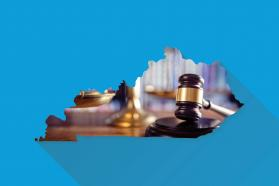 Gavel image in the shape of the state of Kentucky