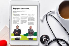 Stethoscope, coffee and a tablet displaying the AMA digital magazine