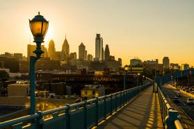 Wide shot of Philadelphia, Pennsylvania