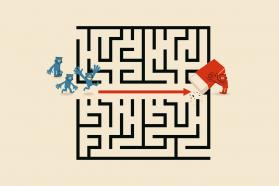Illustration of cartoon man erasing the path in a maze