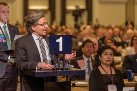 AMA member speaking during 2019 Interim HOD Meeting