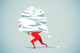 Illustration of man carrying a huge pile of paperwork