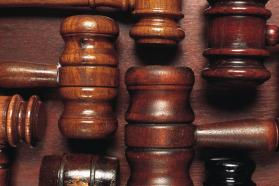 Close up of several court gavels
