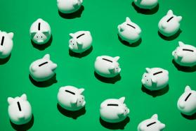 White piggy banks on a green background