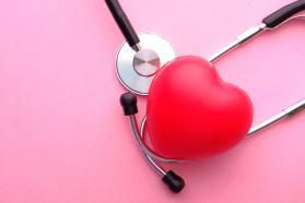 Heart on stethoscope