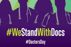 Graphic with an overlay that says We stand with doctors