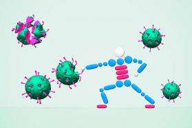 Graphic of a figure and viruses