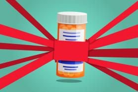A prescription pill bottle with red tape to it in every direction.