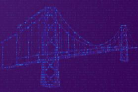 A bridge mapped out over a binary code background.